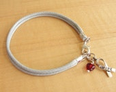 "Diabetes Awareness Bracelet - Gray Cotton with Red Drop of ""Blood"""