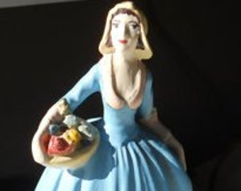 Chalkware Figurine Lady With Basket of Flowers Statuette - new discount