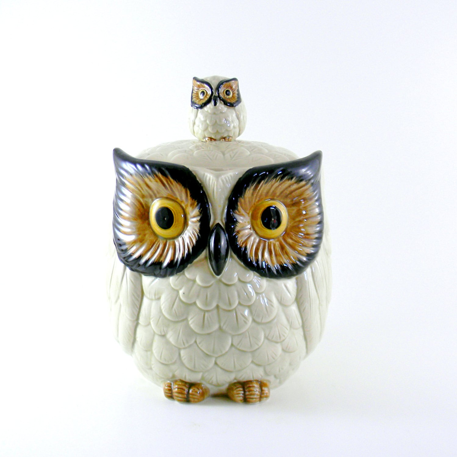 Tall bathroom vanity - Owl Cookie Jar Vintage 1960s Large Otagiri By Blissandvinegar