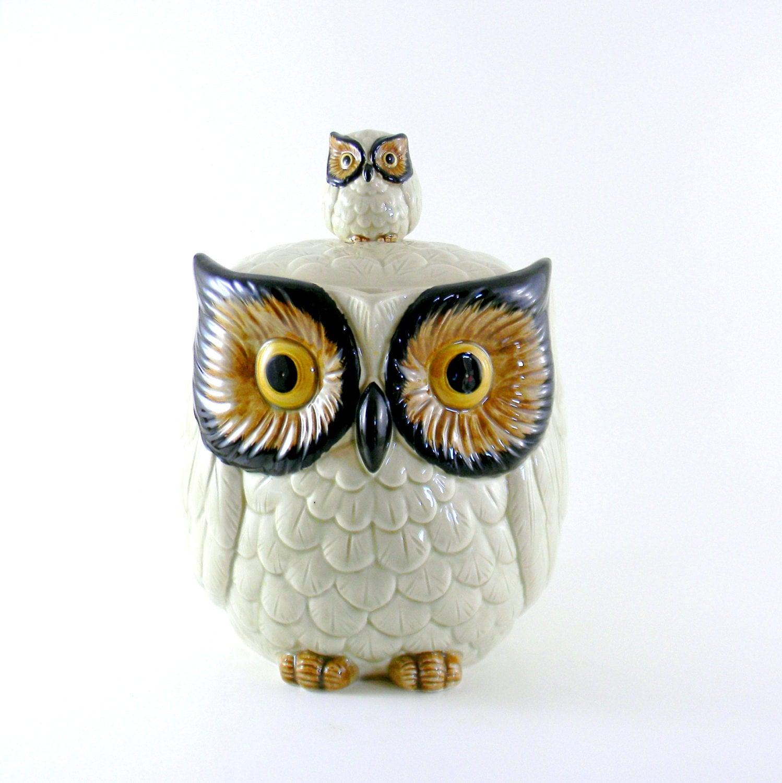 Owl Cookie Jar Vintage 1960s Large Otagiri Woodland Canister