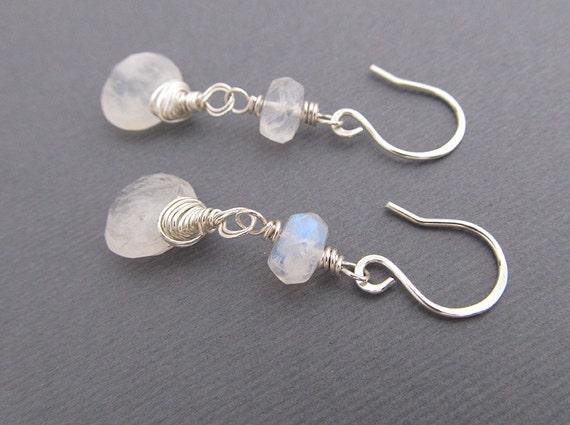 Moonstone Earrings, Sterling Silver Earrings, Drop Earrings