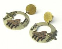 Vintage Earrings Ballerina Grand Piano Brass Copper Silvertone Pierced Post Dangle Costume Jewelry Musical Earrings on Etsy