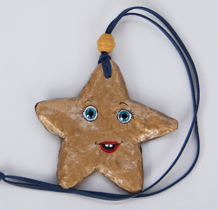 Wall hanging Gold Upcycled Paper Mache star wall by RecycoolArt