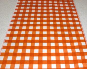 Tangerine Orange Gingham Check Table Runner