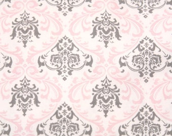 Changing Pad Cover : Bella Pink and Gray Damask Contour Changing Pad Cover