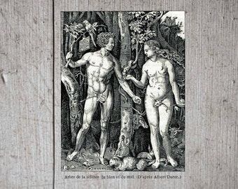 INSTANT DOWNLOAD Adam and Eve In The Garden With Rabbits Cat Mice Goat Cow Parrot 300 DPI Clip Art Image jpeg