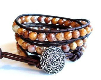 Leather Wrap Bracelet - Caramel Latte - Morocco Agate Triple Wrap Bracelet