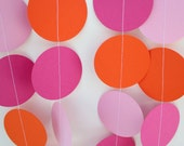 Birthday Party Decorations - Paper Garland Party Decoration, Hot Pink, Orange and Light Pink