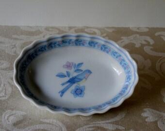 Soap Dish Floral Blue Bird Design / Vintage Bathroom Decor