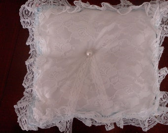 Pale blue and white lace  trim ring pillow white lace