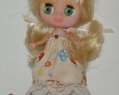 Littlest Pet Shop Blythe / Petite Blythe Dress Mushrooms and Lace / Japanese Fabric / Pinwheels & Daisies
