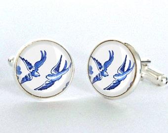Blue Willow Love Birds Silver Plated Cufflinks