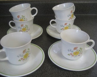 6 Corelle Meadow Coffee Cups or Mugs and Saucers  Vintage 1970s