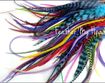 50 Pc Whiting Wide Feather Extensions With Fluff / Bright Grizzly Colors / 7 - 12 Inches Long