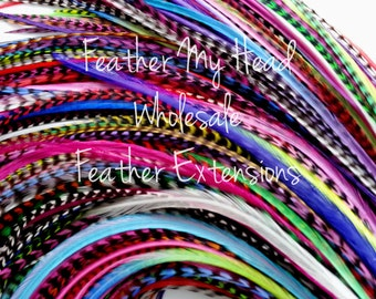 100 Pc Whiting Farm Grizzly Feather Extension In Bright Colors REAL FEATHER