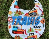 Personalized Construction Baby Bib with Bulldozer, Skid Steer and Dump Truck