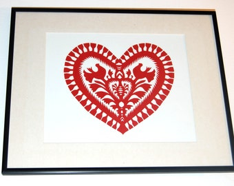 Original Papercut Wycinanki Polish Folk Art Collage heart