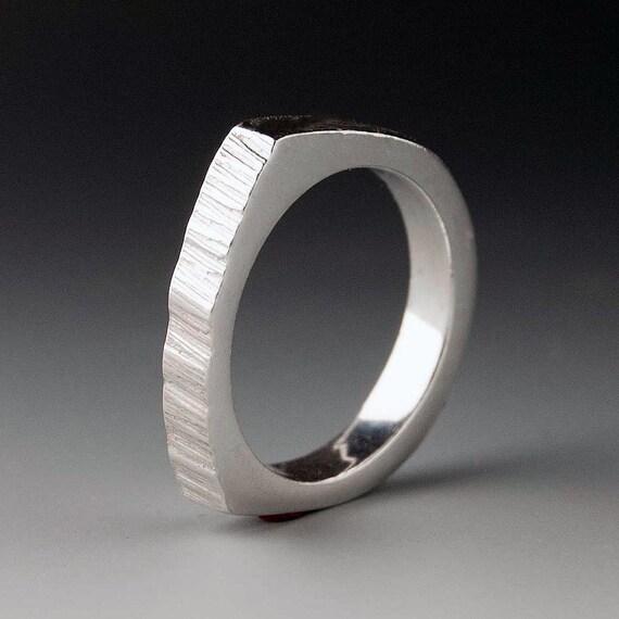 Narrow Saw Cut Wedding Ring, Modern Wedding Band in Sterling Silver or Palladium, Rustic Wedding Band, Unisex Wedding Band