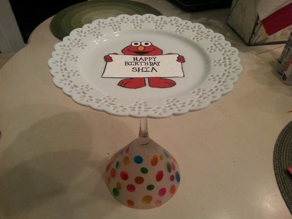 hand painted elmo cake plate stand cupcake stand sesame street confetti children's birthday party favor