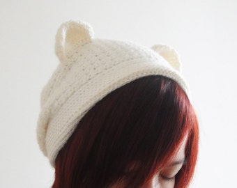 Bear Hat, Polar Bear Beanie, Women Hat in White, Crochet Hat, Slouchy Beanie, Winter Accessories