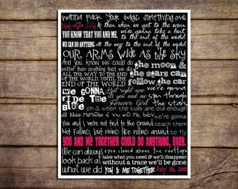 Custom Dave Matthews Band You & Me Lyrics | Valentine's Day Gift | Gift for boyfriend, girlfriend, husband, wife | Lyric Prints | Typography