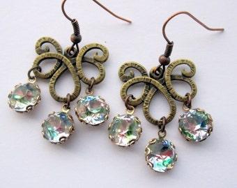 Vintage iris rhinestone chandelier earrings