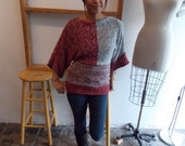 Vintage Bat Wing SWEATER - Red & Grey, Desert Chic, Blocked