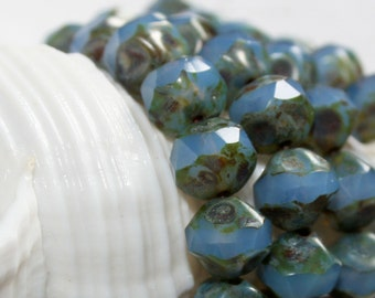 9mm . Czech Pressed Glass Central cuts Denim Blue with picasso . 15 beads