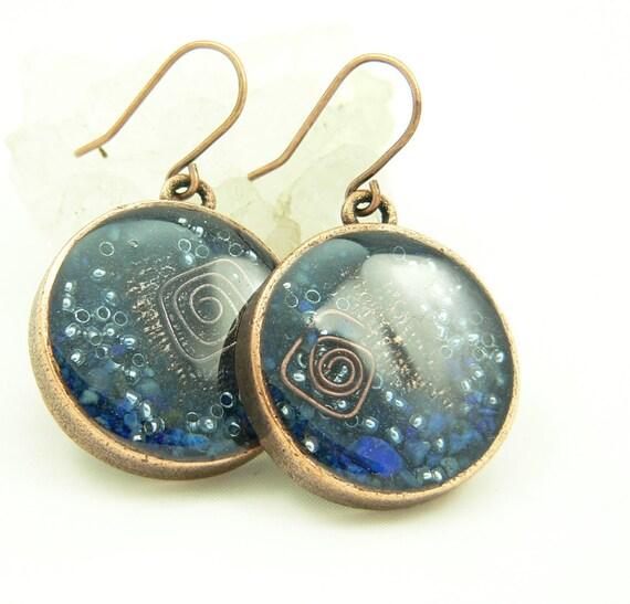 Orgone Energy Earrings - Positive Energy Generator - Dangle Earrings - Lapis Lazuli Gemstone in Copper - Artisan Jewelry