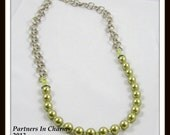 Swarovski Light Green Pearls with Textured Antiqued Sterling Silver-plated Chain Necklace