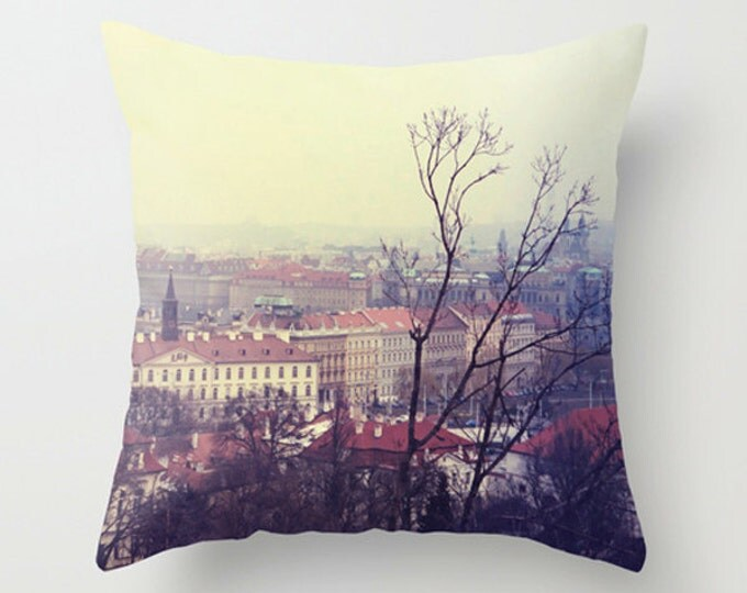 IN STOCK On Sale 20x20 Red Rooftops II Home Decor Throw Pillow - Cover Only - Prague Cityscape in Winter
