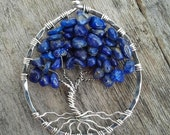 Blue Lapis and Sterling Silver Tree of Life Pendant MADE TO ORDER