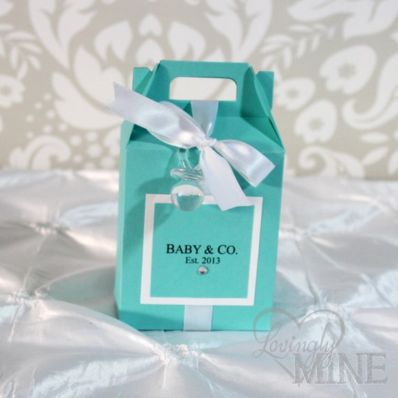 Baby Shower Favors At Babies R Us ~ Baby shower gable box favors in light teal and white