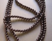 HEAVY Chocolate Plum LONG Faux Pearls Glass 62 Inches Never Worn Flapper Great Gatsby costume jewelry