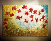 "36"" Original Modern Abstract Heavy Textured Red Poppy Painting.Impasto.Palette Knife.Thick Flower Painting.Ready to Hang... -.by Nata S. - myworldn"