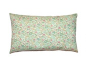 """Light Turquoise Floral Betsy Liberty of London Print Throw Pillow Cover 12""""x20"""" - More Sizes and Colors Avalaible"""