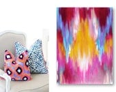Ikat-Inspired Abstract Original Painting on Stretched Canvas 24 x 36 Ready to Hang - lanasfineart