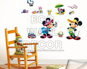 PEEL and STICK Removable Vinyl Wall Sticker Mural Decal Art - Disney Mickey and Minnie Mouse Picnic and  Picture Time