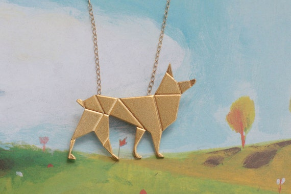 Gold Origami Necklace Wolf Necklace Paper Jackal Jewelry