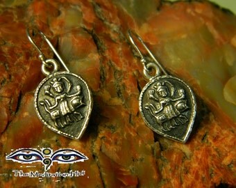 Goddess Durga Sterling Silver Hindu Dangle Drop Earrings
