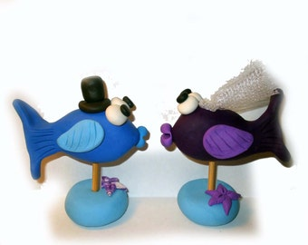 Wedding cake topper of kissing fish made for you in custom colors