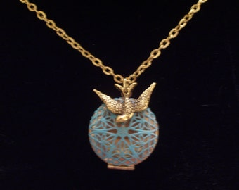 Aqua Turquoise Patina Brass Filigree Bird Nest  Locket Necklace Antiqued Gold Bird Gold Plated Chain