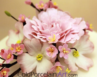 Peony Cake Topper - Cold Porcelain Art - Made to Order