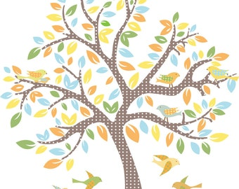 Kids tree vinyl wall decal with 9 birds cute for baby nursery