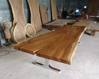 Live Edge Dining Table Reclaimed Solid Slab Acacia Wood 10 To 12 Seater  Chrome Dipped Legs