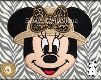 Safari Minnie Mouse Face No Sew Applique Patch