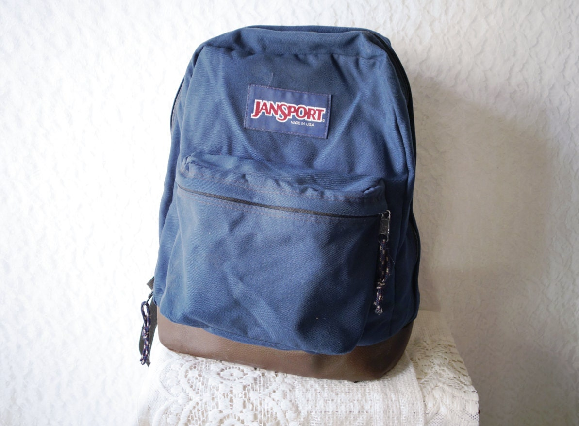 CLASSIC OLD SCHOOL Jansport Navy Blue Canvas Brown Leather