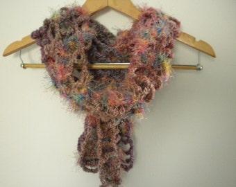 ON SALE Crochet Scarf Pink Purple Multi Color Scarf Handmade Fun Fuzzy