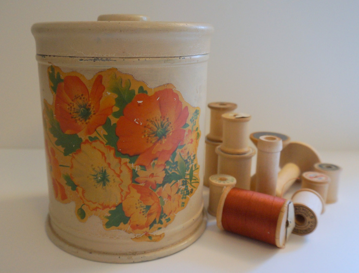 Vintage Metal Kitchen Canister Orange Flowers by