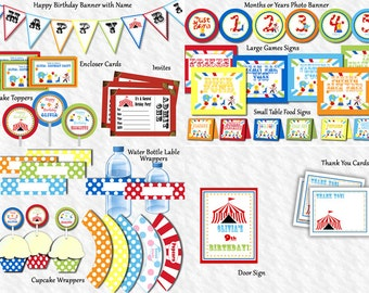 Circus Birthday Party Package, Carnival Birthday Party Package, Printable DIY Invite Thank You, Signs, Banners, Toppers (NOT Personalized)